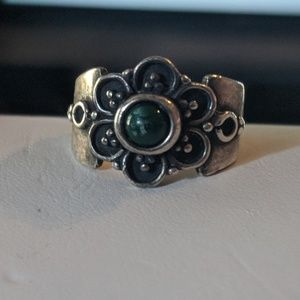 Vintage Silver Tone Flower Ring #1212